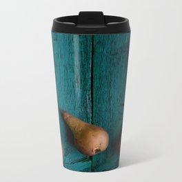 Pears on rustic wooden board Metal Travel Mug