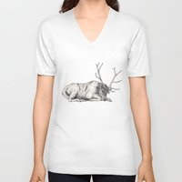 stag V-neck T-shirts featuring Stag // Graphite by Sandra Dieckmann