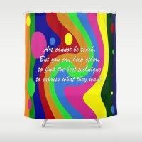 teacher Shower Curtains featuring art teacher by Maria Julia Bastias