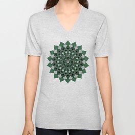 Green & Silver Floral Mandala Unisex V-Neck
