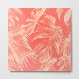 Living Coral Tropical Palm Leaves Monstera Metal Print