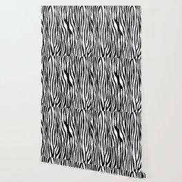 Vegan Zebra Fur Animal Print Design (Black) Wallpaper