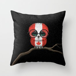 Baby Owl with Glasses and Canadian Flag Throw Pillow