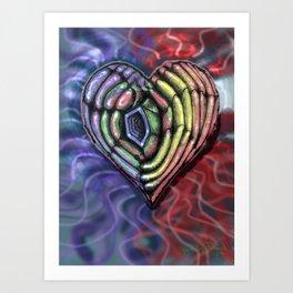 Colorful Hole Heart Art Print