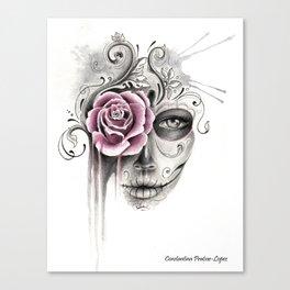 Rose Sugar Skull Canvas Print