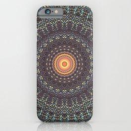 Sun Circle Bohemian Geometric Thread Weave Pattern Original \\ Yellow Gray Blue Purple Color Scheme iPhone Case