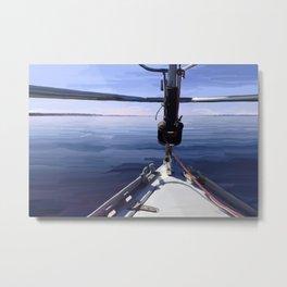 """Seeking the Horizon"" - Sailboat Painting Metal Print"