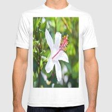 White Hibiscus MEDIUM Mens Fitted Tee White