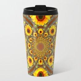 OPTICAL ART BROWN-GREY SUNFLOWERS Travel Mug