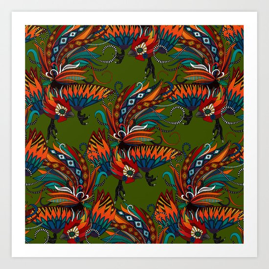rooster ink green Art Print