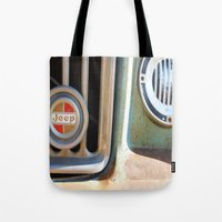 jeep Tote Bags featuring Jeep by AnniarchyDesigns