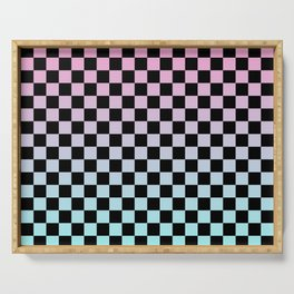 Pink and Blue Gradient Checkers Serving Tray
