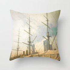 Vintage Old Ship Throw Pillow