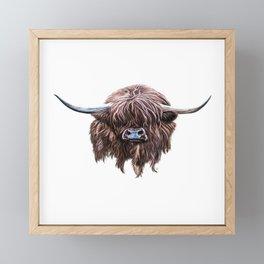 Scottish Highland Cow In Colour Framed Mini Art Print