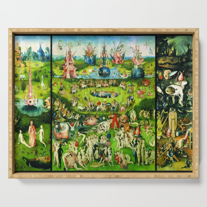 The Garden of Earthly Delights Triptych by Hieronymus Bosch Serving Tray by  historystuff