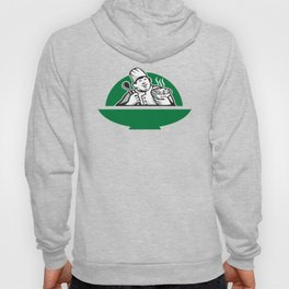 Fat Chef Cook Holding Bowl Spoon Retro Hoody