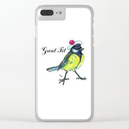 Great tit in white beret Clear iPhone Case