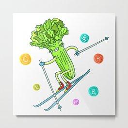 Skiing Celery Metal Print