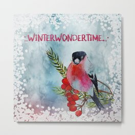 Winter Wondertime - Merry christmas- Little finch on branch-covered with snow Metal Print