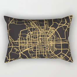 BEIJING CHINA GOLD ON BLACK CITY MAP Rectangular Pillow