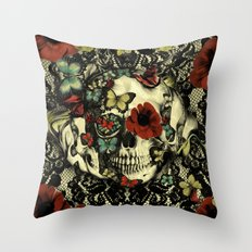 Vintage Gothic Lace Skull Throw Pillow