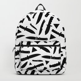 Survival Knives Pattern - Black and White Backpack