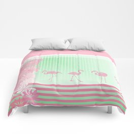Baby Pink And Mint Green Flamingo Comforters