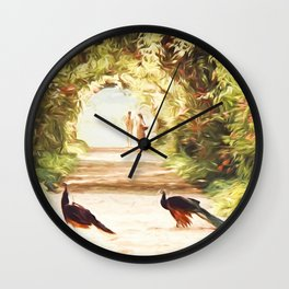 Lovers and Peacocks Wall Clock