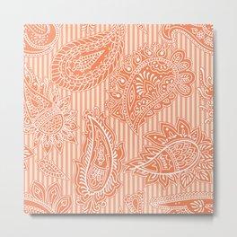 Orange stripy paisley Metal Print