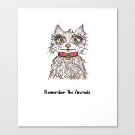 Remember The Animals Cute Cat T-Shirt Canvas Print