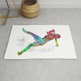 Baseball Softball Player Sports Art Print Watercolor Print Girl's softball Rug