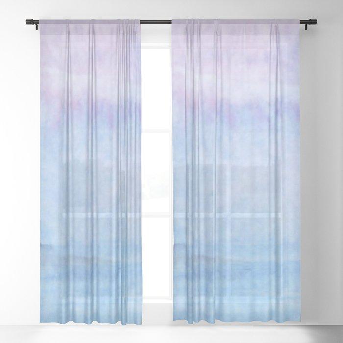 watercolors landscape Sheer Curtain
