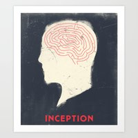 movie poster Art Prints featuring Inception - Movie Poster by Joel Amat Güell