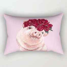 Baby Pig with Rose Flower Crown in Pink Rectangular Pillow