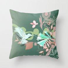 Hummingbird leaf tangle, green pale pink Throw Pillow