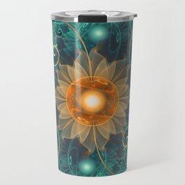 Beautiful Tangerine Orange and Teal Lotus Fractals Travel Mug