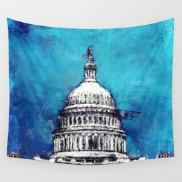 Stormy Weather Over The Capitol Wall Tapestry