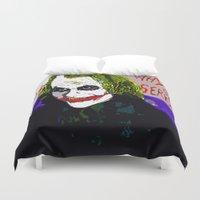 joker Duvet Covers featuring joker by Saundra Myles
