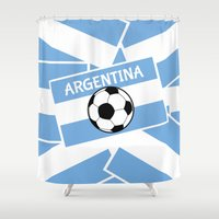 football Shower Curtains featuring Argentina Football by mailboxdisco