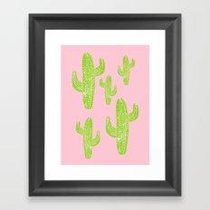Linocut Cacti Minty Pinky Framed Art Print