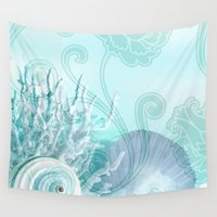 seashell Wall Tapestries featuring SEASHELL DREAMS | blue by Cheryl Daniels