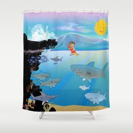 Seven Scary Sharks Shower Curtain
