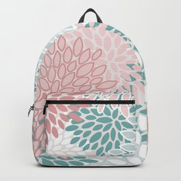 Festive, Floral Prints, Teal, Pink and White Backpack