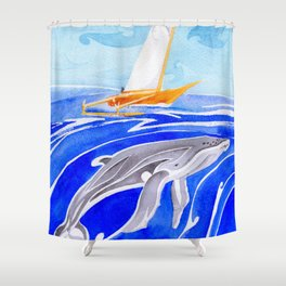 humpback whale and polynesian outrigger sail boat Shower Curtain