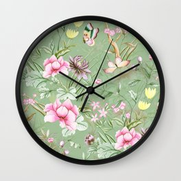 Vintage & Shabby Chic Chinoserie Pastel Spring Green Flowers And Birds Garden Wall Clock