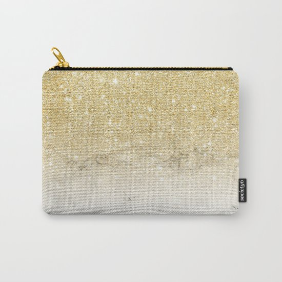 Modern faux gold glitter white marble color block Carry-All Pouch