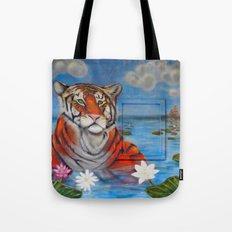 Bathing Tiger Tote Bag
