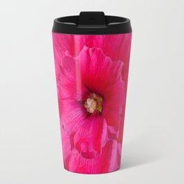 BLACK FUCHSIA-PINK  DOUBLE  HOLLYHOCK FLOWERS GARDEN Travel Mug