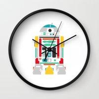 r2d2 Wall Clocks featuring R2D2 by John David Harris