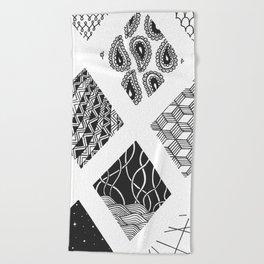 Diamond Zentangles Beach Towel